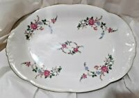 "Vintage  Wawel China Serving  Platter 13""  x 9"" Made in Poland Gold Trim"