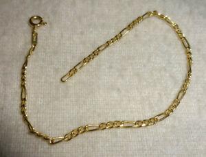 "Vintage Italy 14K Gold Signed Figaro Hallmarked Bracelet 7"" CT1"