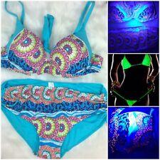 Large Blacklight UV Full Cut Filigree Floral Bikini Swimsuit Neon Teal Aqua Rave
