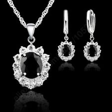 925 Sterling Silver Black CZ Crystal Necklace and Earring Set & Velvet Pouch UK