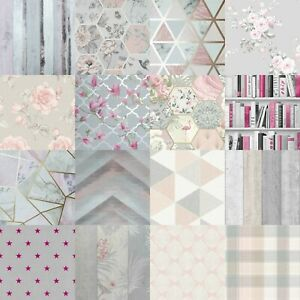 Grey Blush Pink Rose Gold Geometric Floral Wood Panel Trellis Feature Wallpaper