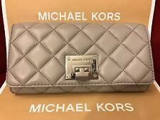 NWT MICHAEL KORS QUILTED LEATHER ASTRID CARRYALL WALLET IN PEARL GREY (SALE!!)