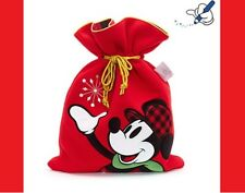 NEW Official Disney Store Mickey Mouse Christmas Sack Red Plush Tartan Minnie