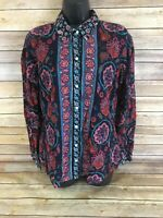 Womens Lucky Brand Button Down Shirt Size Large Blue Floral Long Sleeve Boho Top