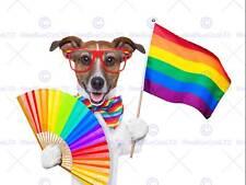 Ilustración de pintura Jack Russell Perro Orgullo Gay Bandera de impresión de arte poster MP3127B