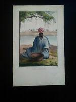 Rarissime Esquises Sénégalaises gravure couleur originale Femme 1853 Boilat