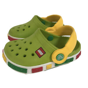 LEGO Crocs Clogs Kids Shoes 4 5 Boy Girl Green Yellow Slip On Water Novelty Red