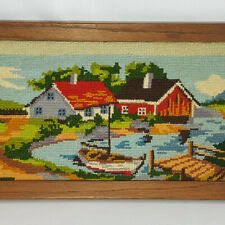 "Vintage Needlepoint Lake Sailboat Cottage Barn Completed 16"" X 8"""