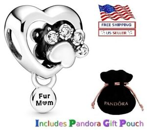 New Authentic PANDORA Sterling Silver S925 ALE Sparkling Paw Print & Heart Charm