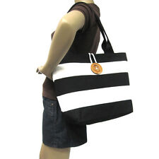 NEW BLACK+WHITE CANVAS STRIPES+WOODEN BUTTON HAND BAG,PURSE