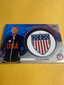 2020 Topps TEAM USA Olympics Tri Bourne USOC Insignia Commemorative Relic 10/50