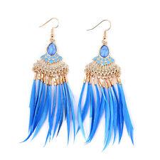 Fashion Bohemia Ear Elegant Dangle Women Jewelry Stud Feather Tassel Earrings Blue