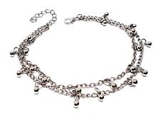 Ankle Bracelet Beaded Anklet Double Chain Drop Bead Foot Jewellery Silver Tone