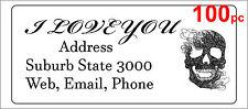 100 Personalised return address label custom mailing sticker 56x25mm skull