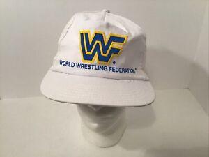 Rare Vintage WWF Snapback Hat Cap  -  White  - USA MADE -