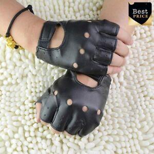 Lederhandschuhe Schwarz Fingerless Fahrmode Männer Frauen Halbfingerhandschuhe