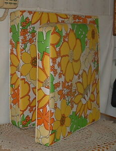 Vtg Mid Century Outdoor Chair Cushions 1960s 1970s Flowers One Chair Two Pads