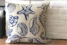 Blue Starfish Sea horse Sea shell Pattern home decor cushion cover pillow case