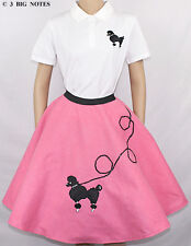 """7 PCHot PINK 50's POODLE SKIRT OUTFIT ADULT SIZE LARGE WAIST 35""""-42"""" Length 25"""""""