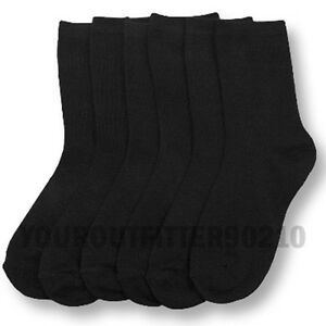 Kid's 6-8 Soft Crew Uniform School Socks Boys Girls Junior Black White 3,6,12PK