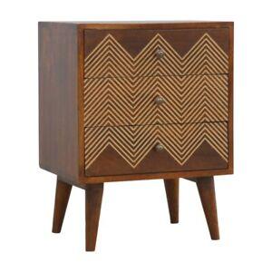 3 Drawer Bedside Table Solid Dark Mango Wood Brass Inlay Handmade Furniture
