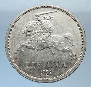 1936 LITHUANIA Silver 5 Litai JONAS BASANAVICIUS Vintage Lithuanian Coin i71863