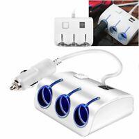 Allume-Cigare Adaptateur Puissance Multiprise Répartiteur 3 Voie 2 USB