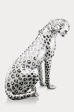 XXL Léopard Céramique 80 cm Fait à la main d'Italie blanc Animal fort Brillant