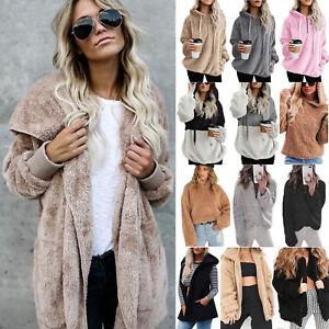 Ladies Faux Fur Teddy Bear Fleece Coat Comfy Jacket Sweater Hoodie Outwear Tops