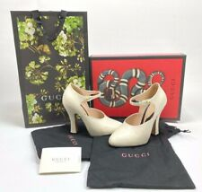 Gucci Women's 447599  Mystic White Leather Lesley Mary Jane Shoes Sz 35+ US 5.5