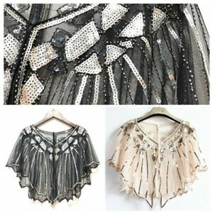 Ladies Shawl Wraps Sequin Evening Cape Bridal Bolero Flapper Vintage Gold Black