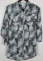 LIZ LANGE XS Maternity Top Long/ 3/4-Sleeve Button-Up Tunic Green/ Gray/ White