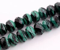 10pcs 12mm Faceted Rondelle Lampwork Glass Loose Spacer Beads Peacock Green