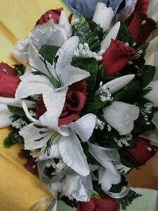 3 pc Wedding package White lilies Burgundy & Silver or any color rush available