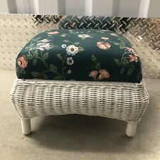 White Wicker Based Green Floral Fabric Cushioned Ottoman Foot Stool Vintage