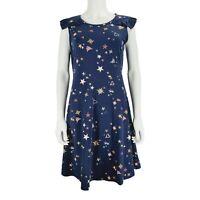 Red Herring UK 14 Blue Dress Pattern Stars Hearts Short Sleeve