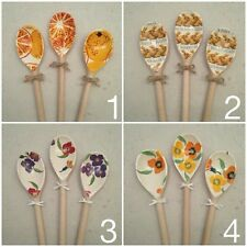 Emma Bridgewater Marmalade Bunny Yellow Purple Wallflower Set of 3 Wooden Spoons