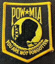 POW MIA You Are Not Forgotten Gold Black Embroidered Biker Patch