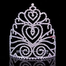 15cm High Large Full Crystal Wedding Bridal Party Pageant Prom Tiara Crown Combs