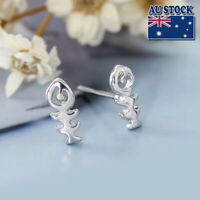 Genuine 925 Sterling Silver Fish Bone Stud Earrings Jewellery Gift