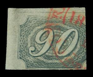 BRAZIL 1844  INCLINADOS  90reis black - Type IIa - Sc # 10 used VF sheet corner
