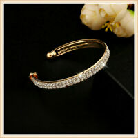 New Women's Fashion Style Gold Crystal Rhinestone Bangle Cuff Bracelet Jewelry