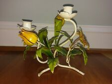 Vtg Tole Candlestick Candle Holder Flower Toleware Italian Metal Yellow Orange