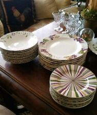 Laura Ashley Grapefields 30pc. China set 10 dinner plates, bowls, dessert plates