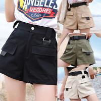 Damen Shorts Hosen Chino Sommer Hot Pants Capri Kurze Hose Stoffhose Bermuda HS