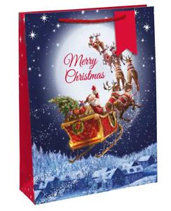 Flying Santa Merry Christmas Extra Large Christmas Gift Bag