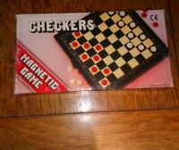 NEW-Vintage Travel Magnetic Checker Set Game in a Plastic Case