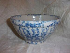 1880s Blue White Stoneware Small Mixing Bowl Spongeware Unusual Size--Antique
