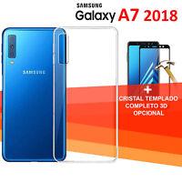 SAMSUNG  GALAXY A7 2018 protector cristal completo 3d vidrio templado + funda