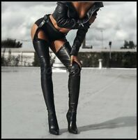 Womens Real Leather PointyToe Over Knee Thigh Boots Stilettos Nightclub Shoes US